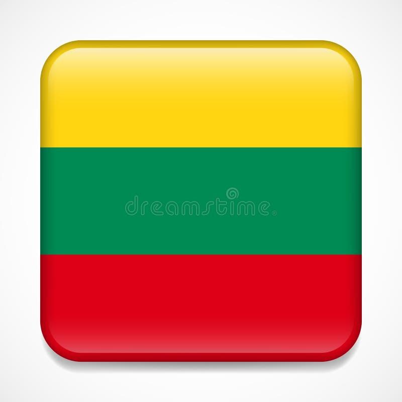 flagga lithuania Glansigt emblem för fyrkant stock illustrationer