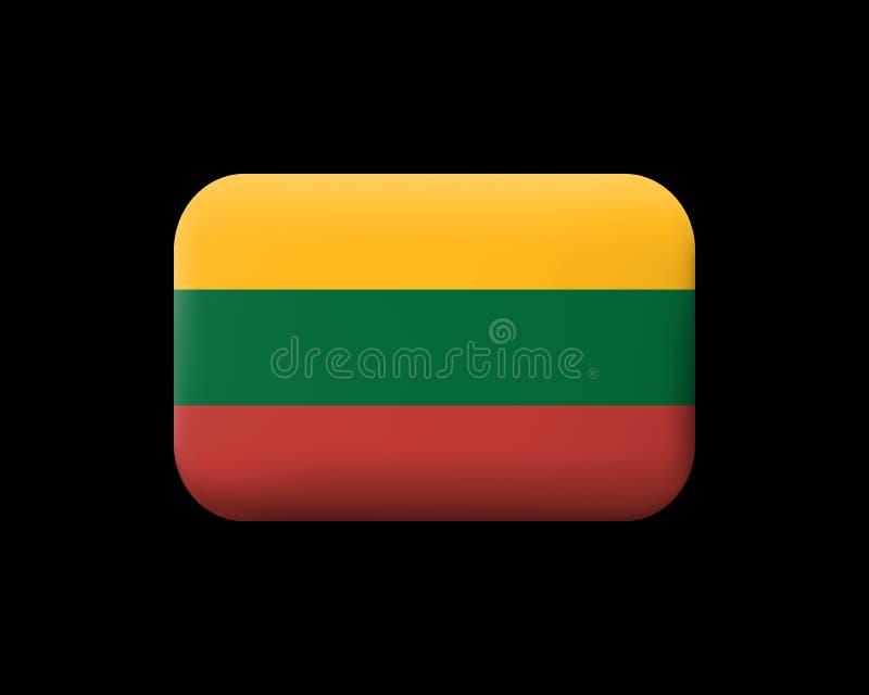 flagga lithuania Hopslingrad vektorsymbol och knapp Rektangulärt Sh vektor illustrationer