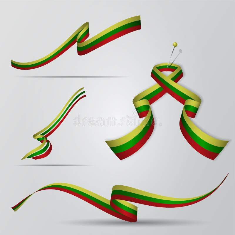 flagga lithuania Litauisk banduppsättning också vektor för coreldrawillustration royaltyfri illustrationer