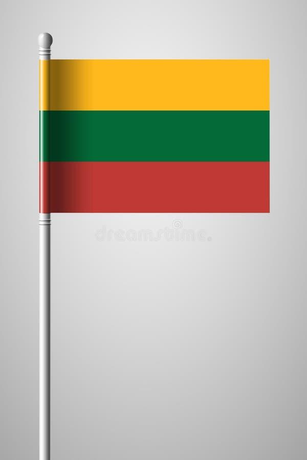 flagga lithuania Nationsflagga på flaggstång Isolerad illustrat stock illustrationer