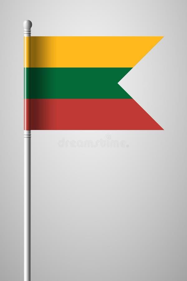 flagga lithuania Nationsflagga på flaggstång Isolerad illustrat royaltyfri illustrationer