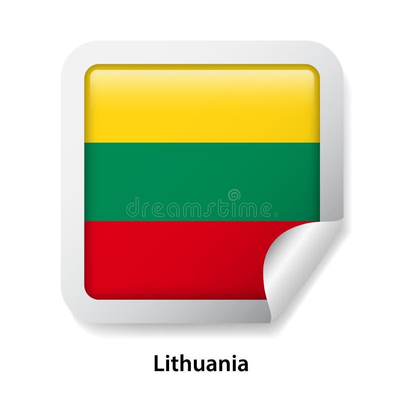 flagga lithuania Rund glansig klistermärke stock illustrationer
