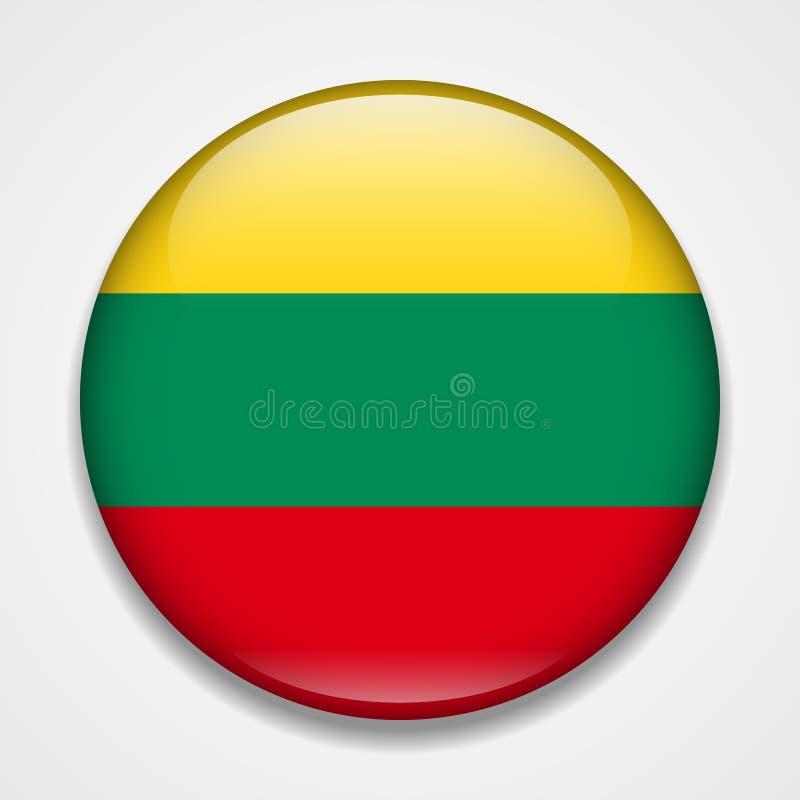 flagga lithuania Runt glansigt emblem royaltyfri illustrationer