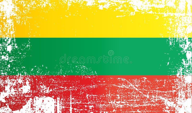 flagga lithuania Rynkiga smutsiga fläckar royaltyfri illustrationer