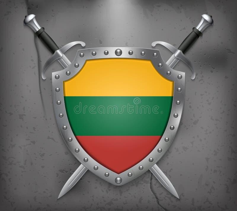 flagga lithuania Skölden med nationsflaggan Två korsade strömbrytare stock illustrationer