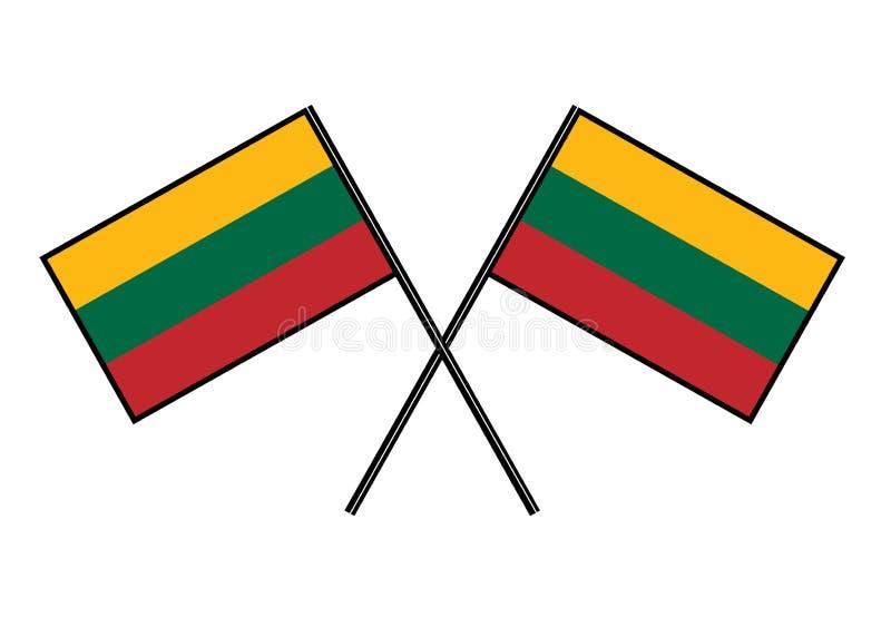 flagga lithuania Stylization av det nationella banret Enkel vektorillustration med två flaggor royaltyfri illustrationer