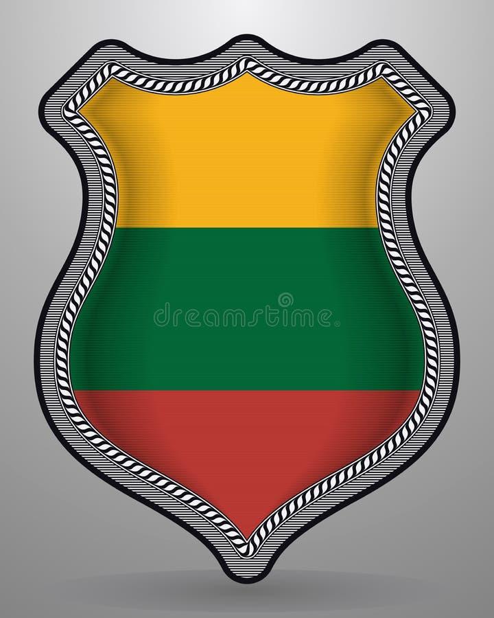 flagga lithuania Vektoremblem och symbol stock illustrationer