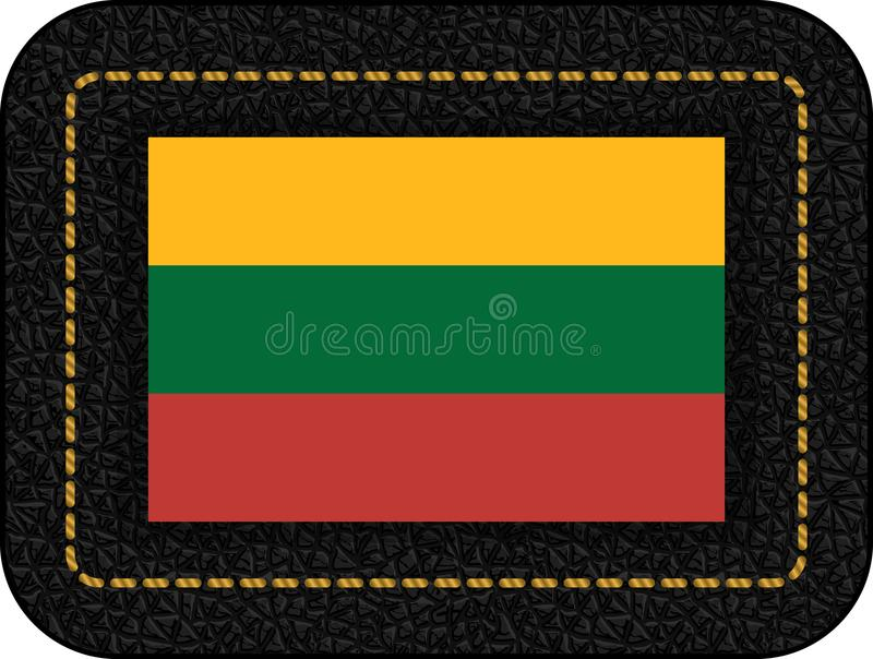 flagga lithuania Vektorsymbol på den svarta läderbakgrunden vektor illustrationer