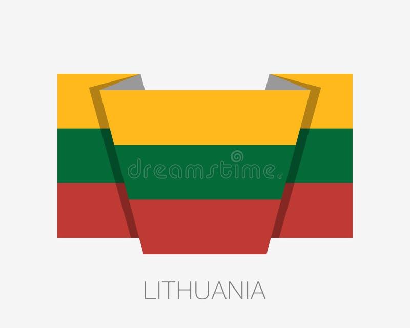 flagga lithuania Vinkande flagga för plan symbol med landsnamn royaltyfri illustrationer