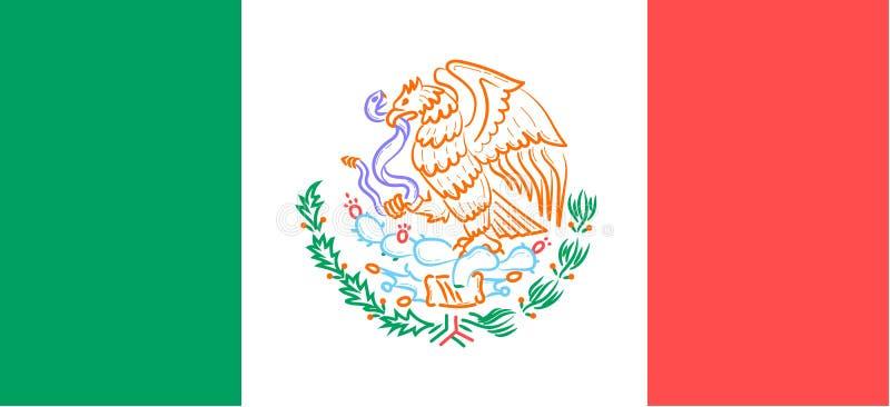 Flagga med emblemet av Mexico vektor illustrationer