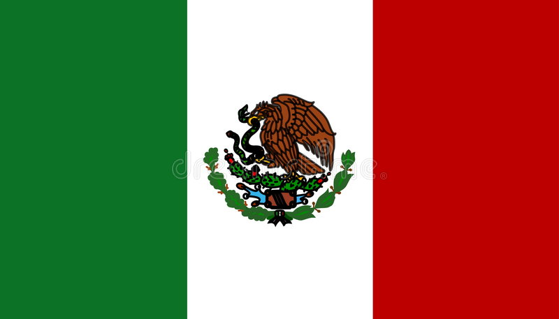 flagga mexico royaltyfri illustrationer