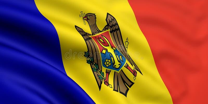 flagga moldova stock illustrationer