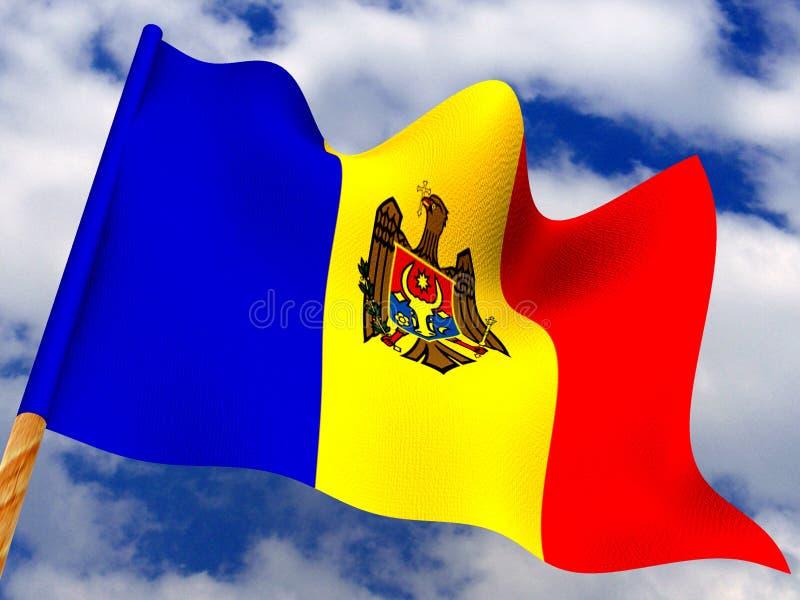 flagga moldova royaltyfri illustrationer