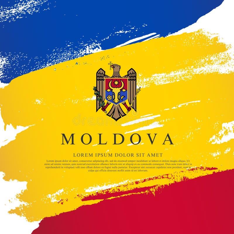 flagga moldova Borsteslagl?ngder som dras av handen retro sj?lvst?ndighet f?r bakgrundsdaggrunge stock illustrationer