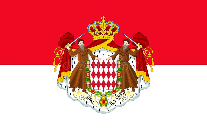 flagga monaco royaltyfri illustrationer
