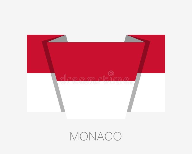 flagga monaco Vinkande flagga för plan symbol med landsnamn vektor illustrationer