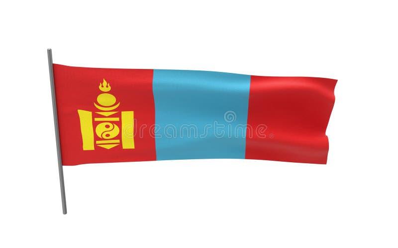 flagga mongolia royaltyfri illustrationer