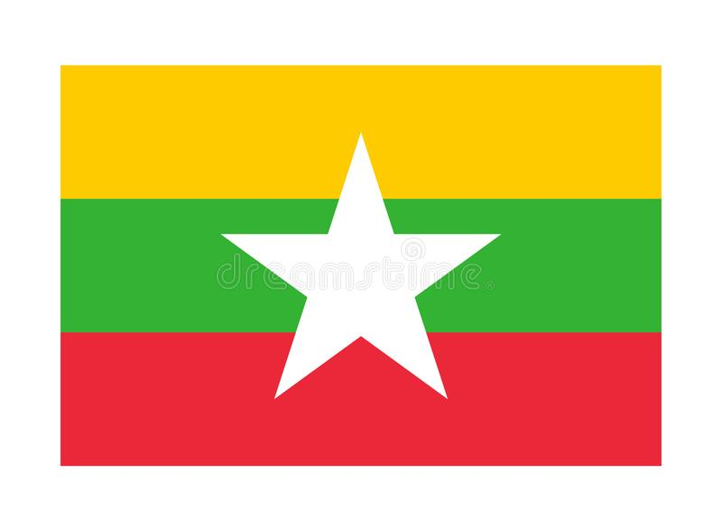 flagga myanmar royaltyfri illustrationer