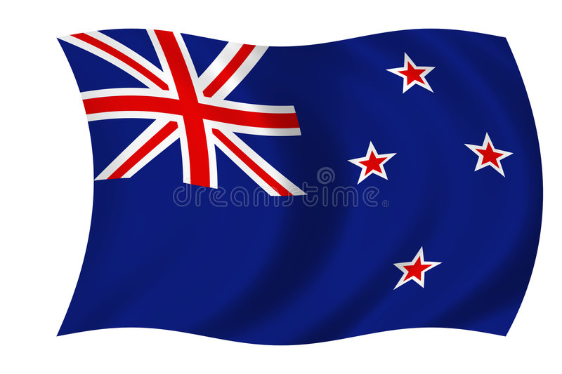 flagga New Zealand vektor illustrationer