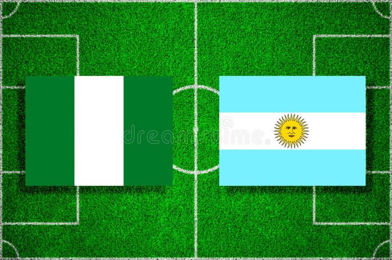 Flagga Nigeria - Argentina på fotbollfältet Fotbollsmatch stock illustrationer