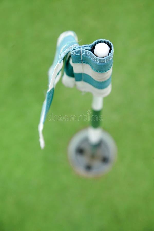 Flagga- Och Golfhål Royaltyfri Fotografi