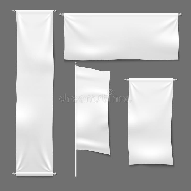 Flagga och hängande baner Vitt annonserande tecken för torkduk för tomt textilbanertyg horisontal, textilbanduppsättning royaltyfri illustrationer