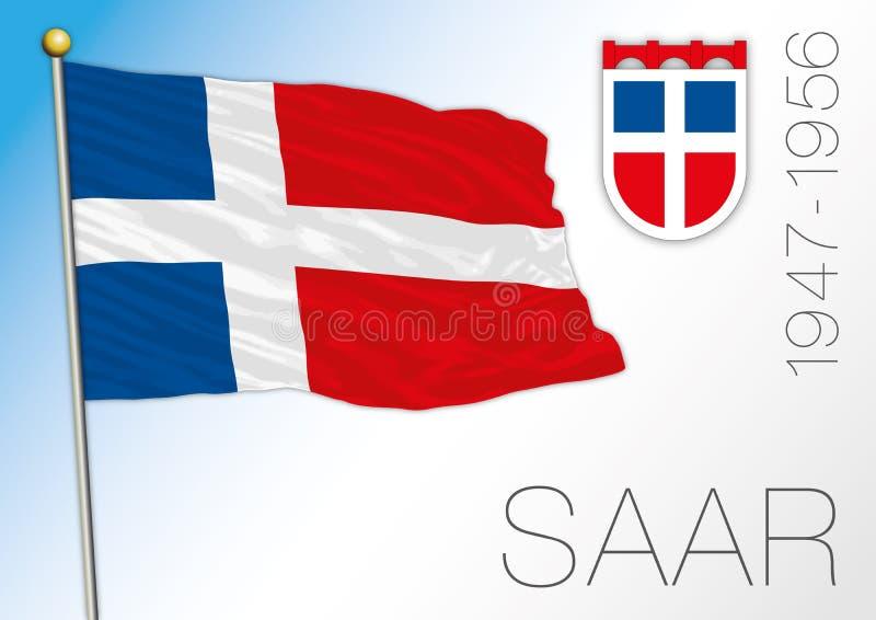 Flagga och vapen Saarland för europeisk region historisk royaltyfri illustrationer