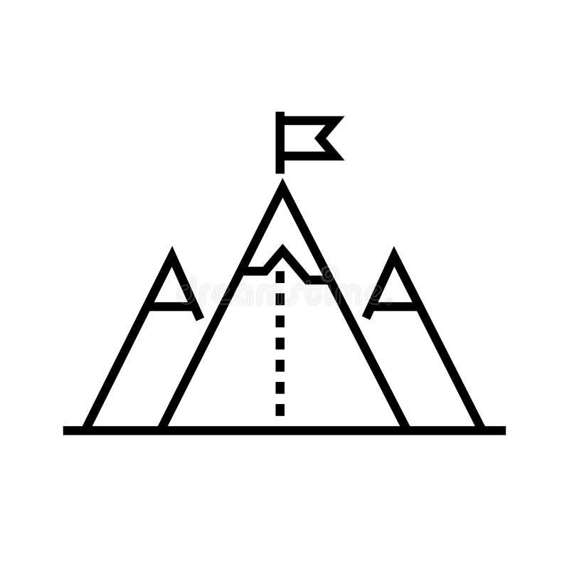 Flagga på bergöverkant - linjen designsingel isolerade symbolen royaltyfri illustrationer