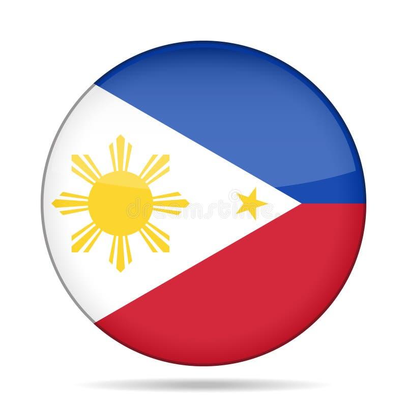 flagga philippines Skinande rund knapp stock illustrationer