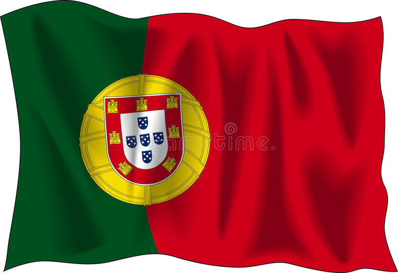 flagga portugal royaltyfri illustrationer
