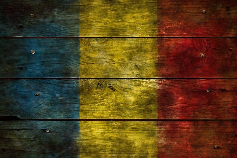Flagga Rumänien på trä royaltyfri bild