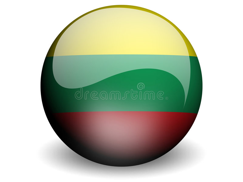 flagga runda lithuania royaltyfri illustrationer
