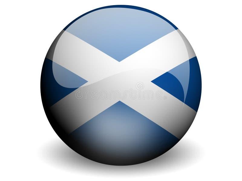 flagga runda scotland royaltyfri illustrationer