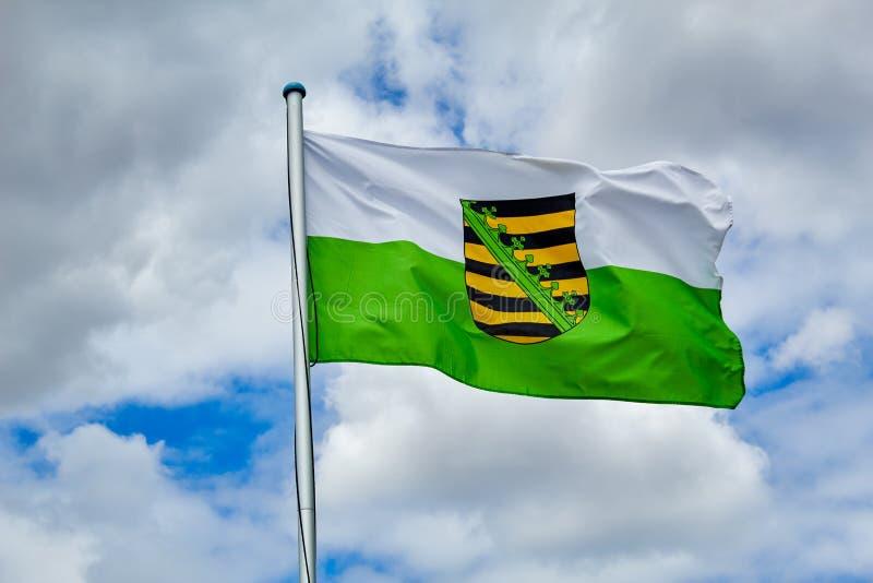 Flagga Sachsen för tillståndsservice arkivfoto
