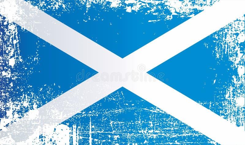 flagga scotland Rynkiga smutsiga fläckar stock illustrationer
