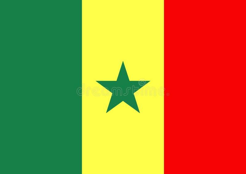 flagga senegal royaltyfri illustrationer