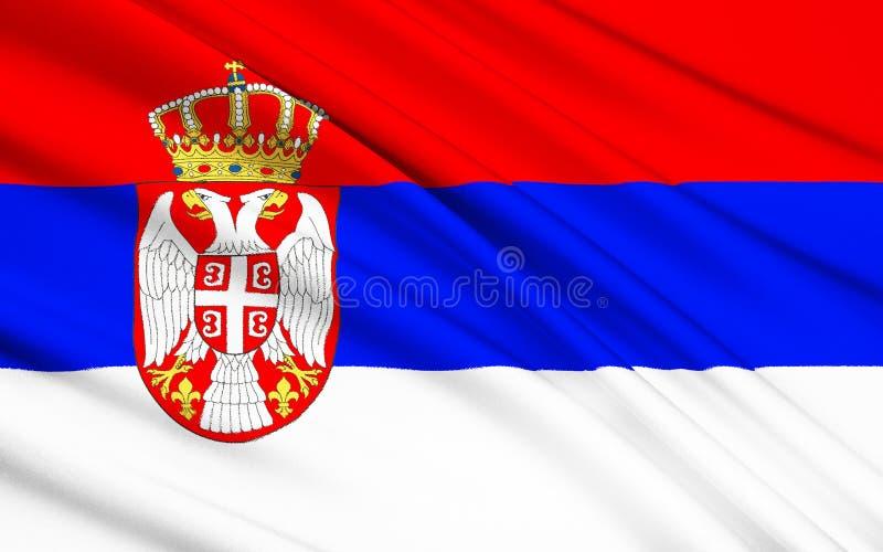 flagga serbia stock illustrationer