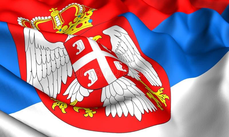 flagga serbia royaltyfri illustrationer
