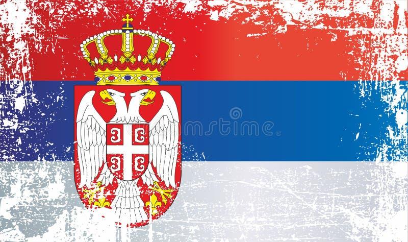 flagga serbia Rynkiga smutsiga fläckar stock illustrationer
