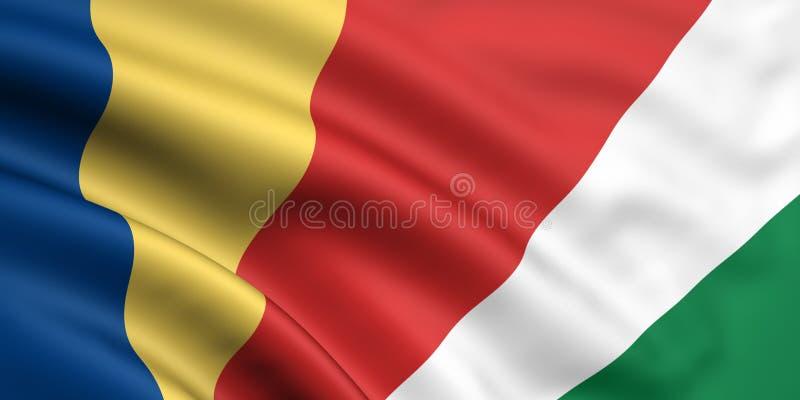 flagga seychelles royaltyfri illustrationer