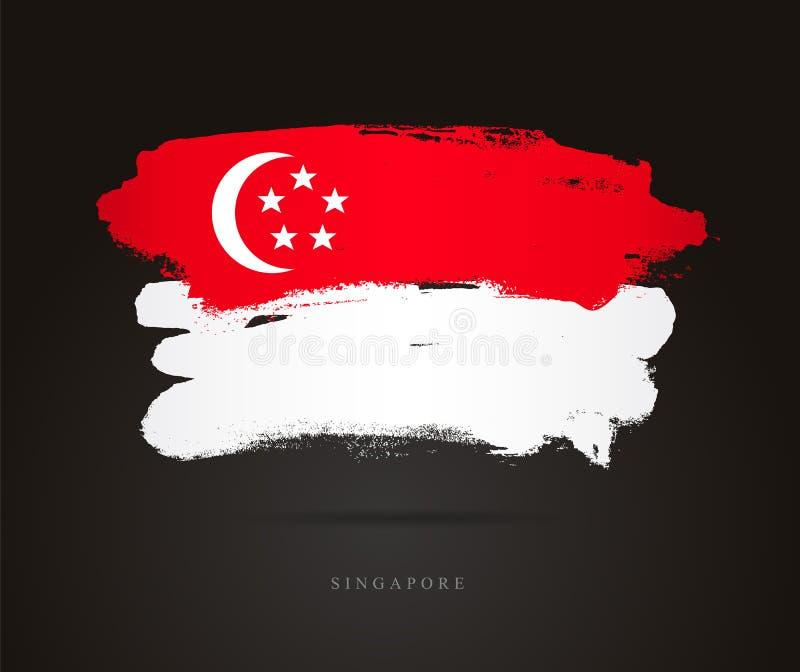 flagga singapore Abstrakt begrepp stock illustrationer