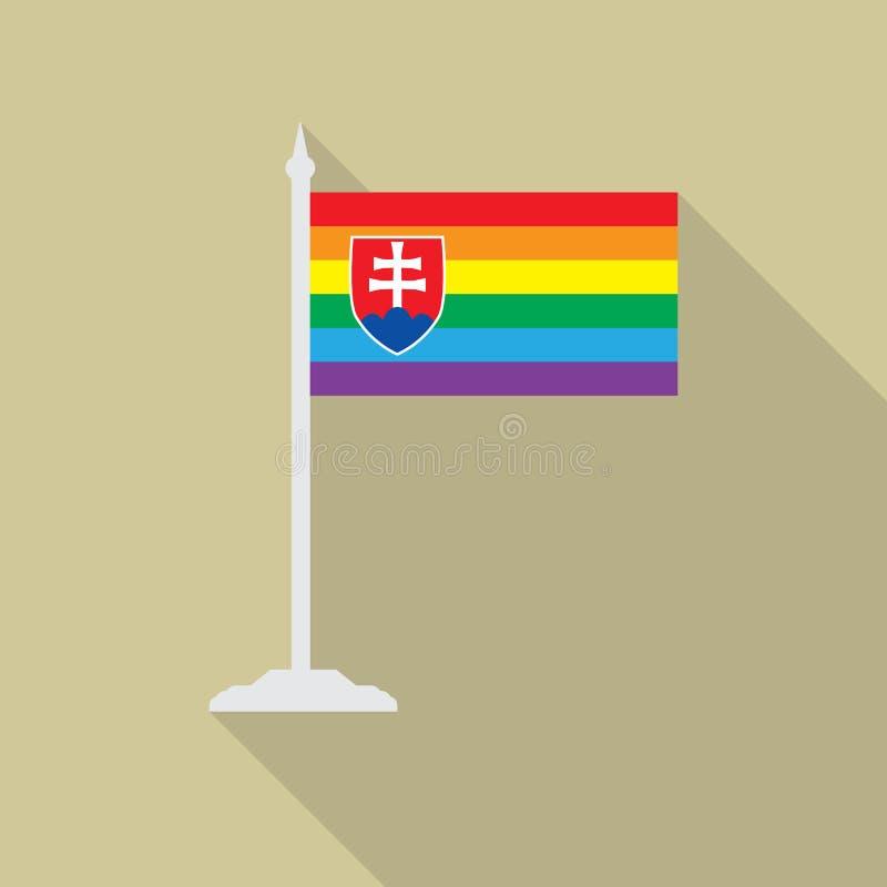 Flagga Slovakien för glad stolthet med flaggstånglägenhetsymbolen med lång shadowt LGBT-gemenskapflagga stock illustrationer