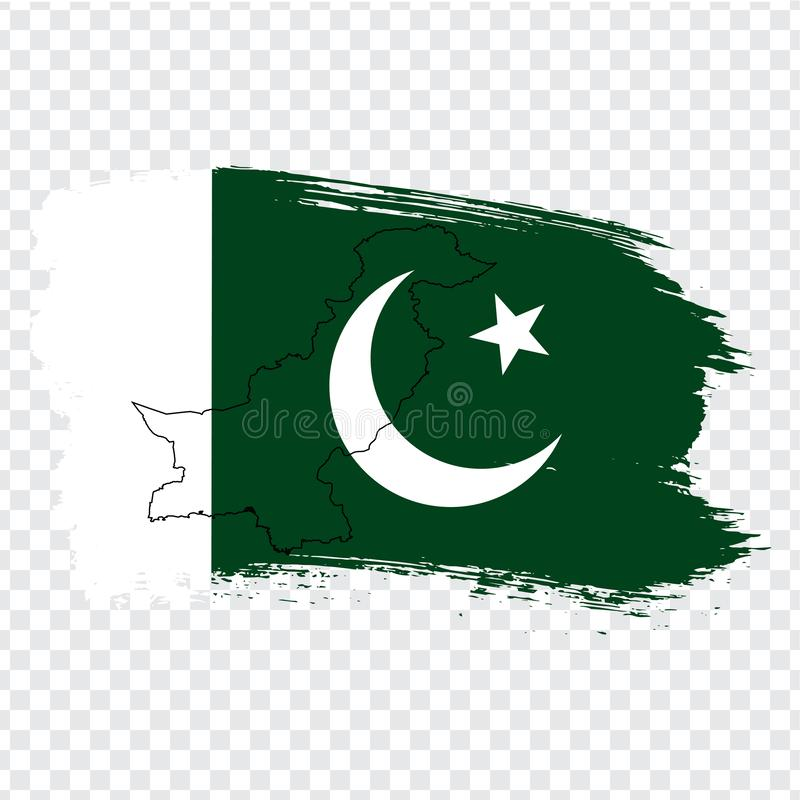 Flagga som är pakistansk från borsteslaglängder och den tomma översikten Pakistan Pakistansk högkvalitativ översikt och flagga på royaltyfri illustrationer