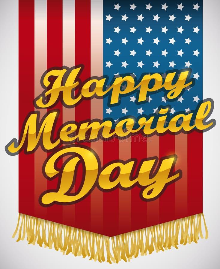 Flagga som hedrar hjältar i Memorial Day, vektorillustration stock illustrationer