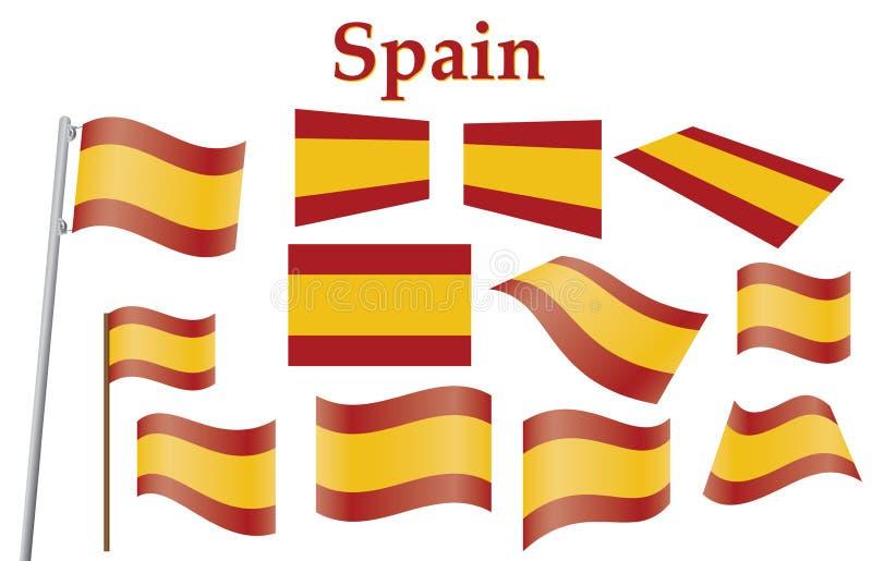 flagga spain royaltyfri illustrationer