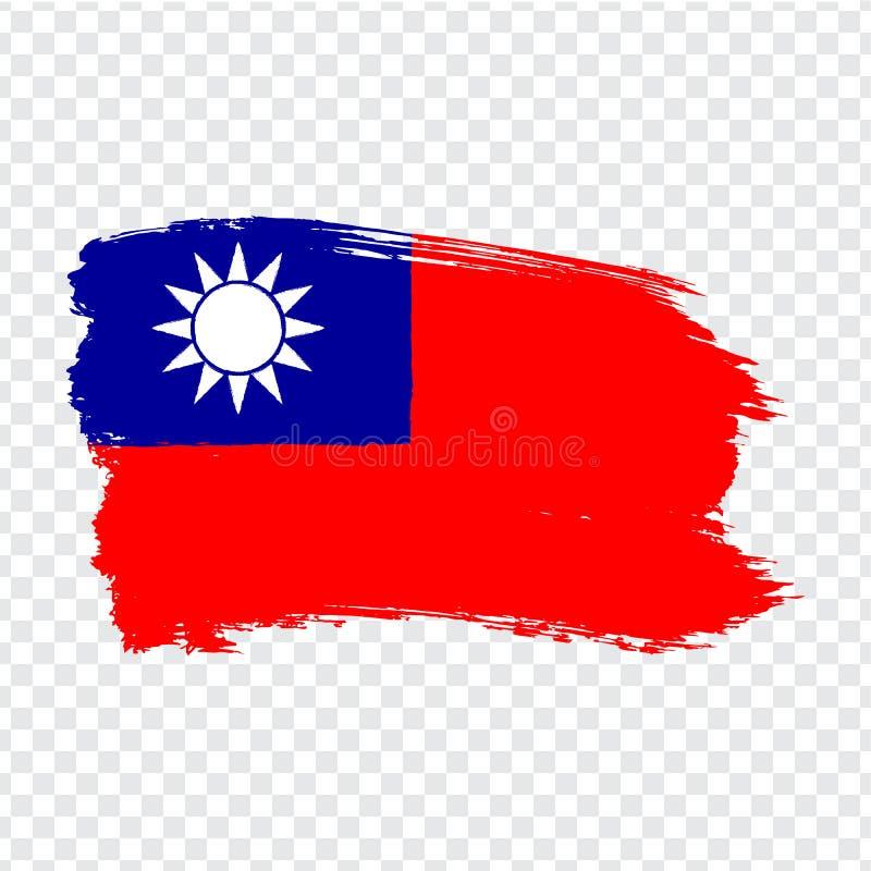 Flagga Taiwan från borsteslaglängder Flagga av Taiwan på genomskinlig bakgrund för din webbplatsdesign, logo, app, UI vektor illustrationer