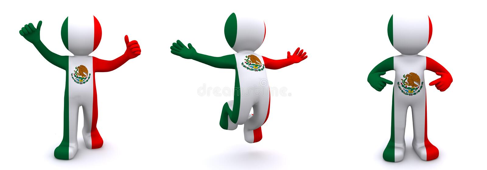 flagga texturerade mexico för tecken 3d royaltyfri illustrationer
