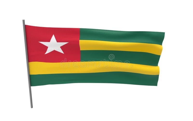flagga togo royaltyfri illustrationer