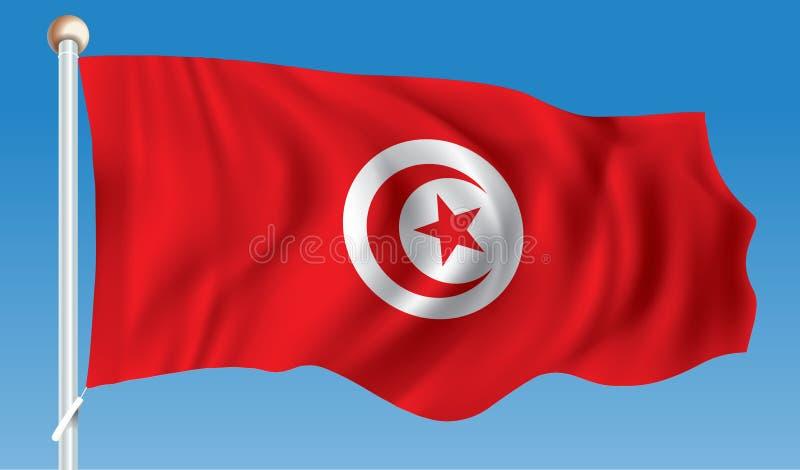 flagga tunisia stock illustrationer