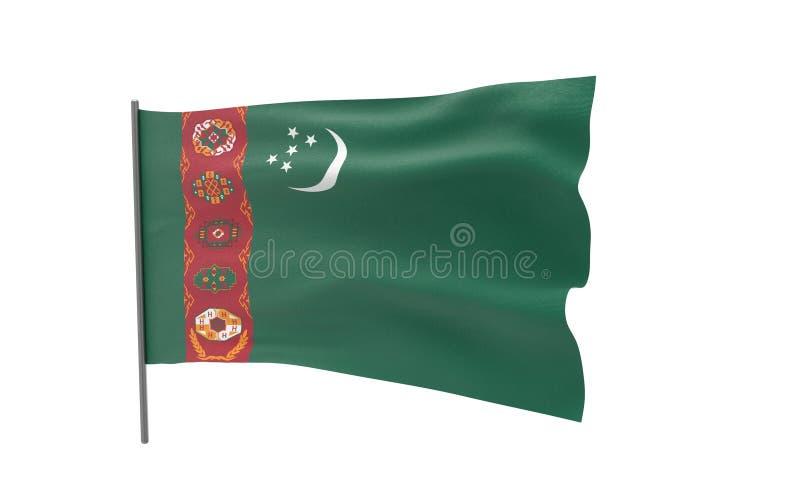 flagga turkmenistan royaltyfri illustrationer